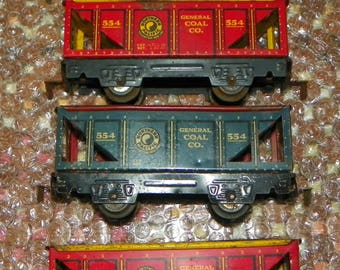 Vintage Set of Four Marx 554 Northern Pacific Hopper Cars