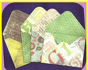 Handmade Card Stock Paper Envelopes Interior Exterior Design Set 4