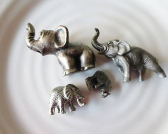 Elephant Miniature Figurines Collection Silver Lot of 4 Heritage Metz Russ Berrie Ampersand Brands