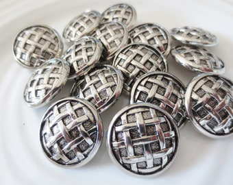 "1"" Silver Buttons Shank Metallic 1 Inch Set of 12 Basket Weave Design Black Contrast"