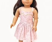 Blush and gold floral sweetheart strappy dress  for 18 inch dolls - blush floral doll dress with gold trim