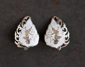 White Siam Earrings - Sterling Silver Clip on - Goddess Mekkala of Lightning - Dancer - Boho Earrings
