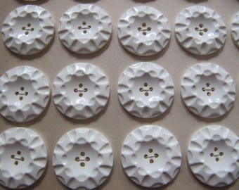 24 Art Deco 1930's buttons 23mm, vintage 7/8th inch white casein buttons, quality galalith plastic button on card made in Germany, sewing