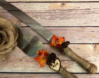 Fall Wedding/November Wedding cake knife set/Wedding Decoration/Rustic cake knife set/cake knife & server set/Fall Leaves and pinecone knife