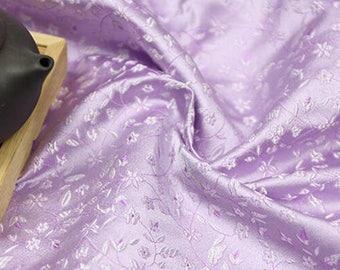 73cm chinese folk little flower light purple lavender tapestry brocade fabric by yard