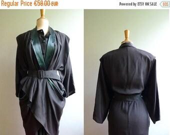 50%DISCOUNT 80s Avant garde green bronze peplum draped belted dress