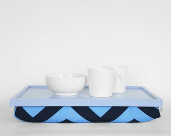 Light blue Chevron print tea serving tray with pillow, Laptop stand, serving Tray - light blue tray, blue chevron print pillow