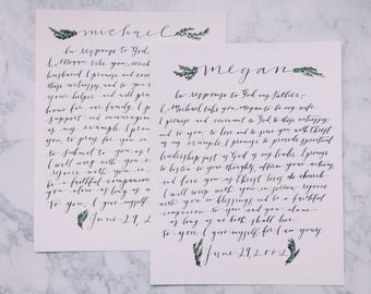 Vows etsy handwritten wedding vows print wedding vows print personalized vows print junglespirit Images