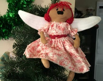 Handmade Primitive Angel Cloth Doll  Original Raggedy Ornament Ornie