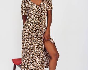 Tonal Ditsy Print Button-down Dress