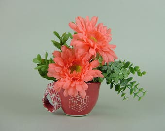 Handmade RED CUP with Twisted Handle with Artificial Plant / Orange African Daisy / Gerbera