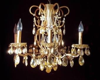 "Golden Chandelier Lighting, Gilt Brass and Crystal, 20""h. x 25""w."
