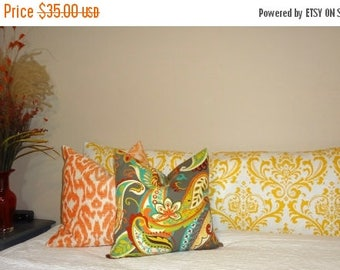 FALL is COMING SALE Decorative Damask Body Pillow Cover Yellow Turquoise Navy Grey Damask Print Size 20x52 Body Pillow