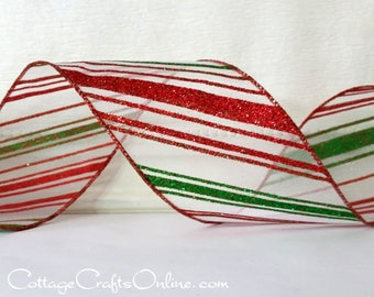 "Christmas Wired Ribbon, 2 1/2"", Red, Lime Green Glittered Diagonal Striped Sheer - TEN YARD Roll - ""North Pole""  Wire Edged Ribbon"