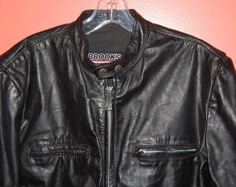 Brooks Cafe Racer Black Leather Motorcycle Jacket Vintage Biker Detroit Size 44