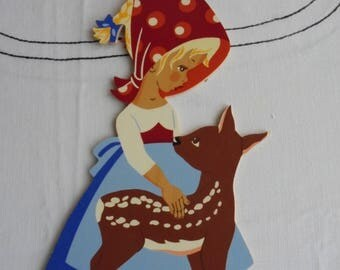 VTG Nursery Rhyme, Fairy Tale Wooden Cutouts Bright Colors Woodlands Hanging bracket
