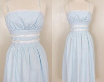 Gunne Sax Dress // 70s Prairie Dress // Baby Blue Sundress