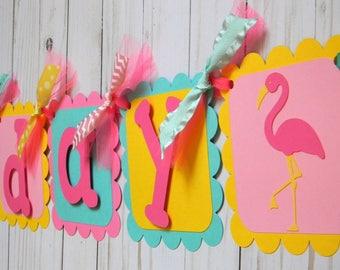Pink Flamingo Banner, Pink Flamingo Birthday Banner, Flamingo Party Banner, Flamingo First Birthday Banner, Flamingo Party Decorations