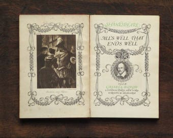 Edwardian Shakespeare: All's Well That Ends Well, leather bound antique book, William Shakespeare play