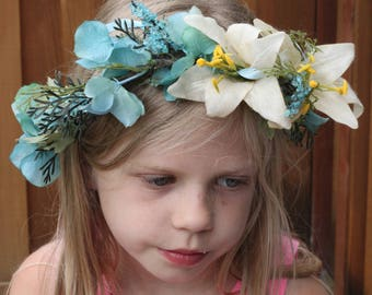 tie back floral crown,toddler crown,fairy,princess,maternity prop