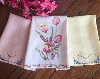 Three Tea Towels Vintage Kitchen Towels