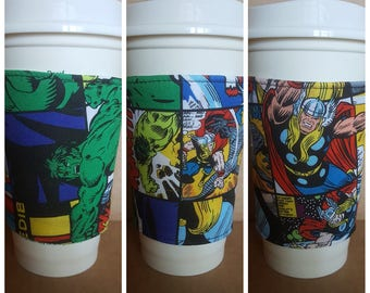 Set of 3 Reusable Superhero Coffee cup Sleeve, cup cozy, cup holder, Marvel Superhero Fabric cup holder, Reversible cup cozy