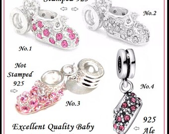 New Baby BOOTIE ~ Shoe ~ Choice of 3 Different Dangle Charm Beads with PiNK or CLeAR Rhinestones ~ Crystals ~ fits European Bracelets - MD