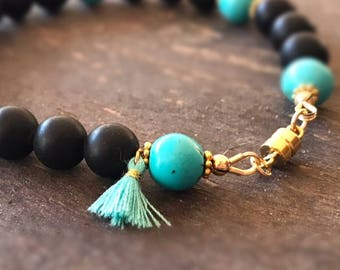 Turquoise and Black Bracelet - Gemstone Jewellery - Yellow Gold Jewelry - Tassel - Magnetic Clasp