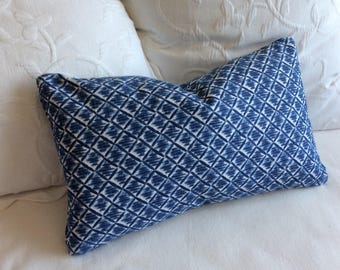 Kimono pacific blue  Lumbar Pillow 12x20 decorative throw toss accent  insert included