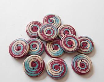 "16 mm polymer clay buttons, handmade 5/8"" buttons, set of 12"