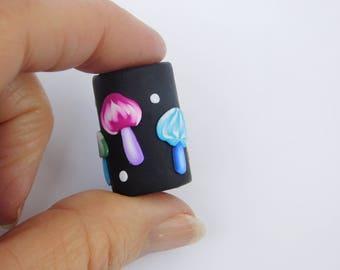 Mushroom Dread Bead with 10-11 mm bead hole, polymer clay bead
