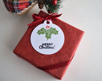 Christmas Gift Tags, Holly Berries Tags, Merry Christmas
