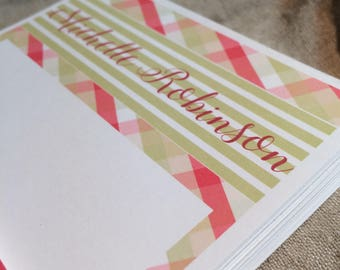 Personalized Soft Pink and Green Madras Patterned Note Pad