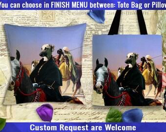 Sloughi - Arabian Greyhound Pillow/Sloughi Tote Bag/Sloughi Art/Dog Tote Bag/Dog Pillow/Sloughi Portrait/Custom Dog Portrait