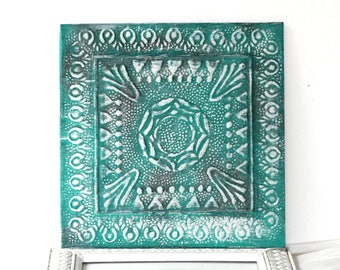 Tin Tile Wall Decor | Faux Architectural Vintage Style Green White | Faux Ceiling Tile | Raised Design | Decorative Panel | Shabby Farmhouse