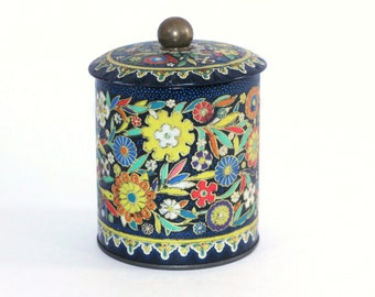 Vintage Tea Tin Made in England   Navy Red Orange Yellow Floral Tea Tin Designed by Daher   Small Metal Tea Box   Round Tea Container