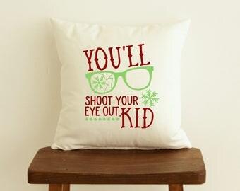 Christmas Throw Pillow, A Christmas Story Pillow Cover, Zippered Pillow, Funny Throw Pillow, Christmas Gift, Ralphie Pillow, Gag Gift
