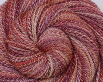 Luxury Handspun Yarn - CRAB SHACK - Handpainted 60/40 Polwarth/Silk, 2 ply DK weight, 300 yards