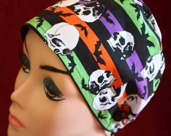 Skulls and Bats Surgical Cap (biker/chemo/surgical)