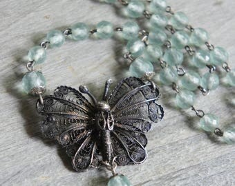 Butterfly Kisses-Butterfly necklace sterling butterfly aqua blue necklace aqua rosary bead assemblage jewelry F614-by French Feather Designs