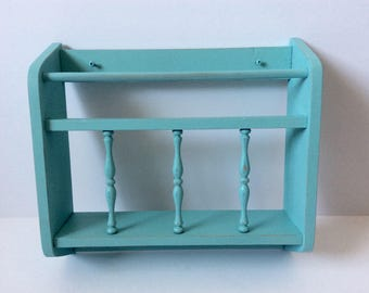 Distressed Wall Hanging Wood Magazine Rack Painted Aqua Turquoise  - Shabby Cottage Chic Decor  - Childs Room Book Holder -   Bathroom Decor
