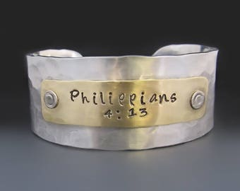 Silver and Gold Philippians 4:13 Bracelet / I can do all things through Christ who strengthens me / Gifts for Her / Confirmation Gifts