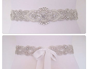 "All around wedding belt sash,wedding belt and sash bridal,crystal wedding belt ""ELLA"