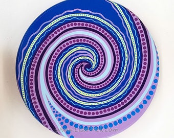 """Lazy Susan Spiral Hand Painted 12"""" Diameter Dots and Stripes Purple, Blue"""