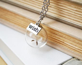 Dandelion Wish Orb Terrarium Necklace