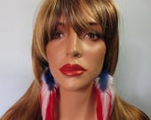 Red White Blue Long Feather Earrings, Real Feather Earrings