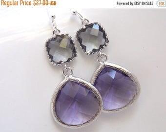 SALE Purple Earrings, Gray Earrings, Grey, Amethyst, Glass, Silver, Bridesmaid Jewelry, Bridesmaid Earrings, Bridal Jewelry, Bridesmaid Gift