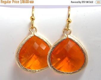 SALE Orange Earrings, Gold Earrings, Gold Orange Earrings, Tangerine Earrings, Bridesmaid Earrings, Bridal Earrings Jewelry, Bridesmaid Gift
