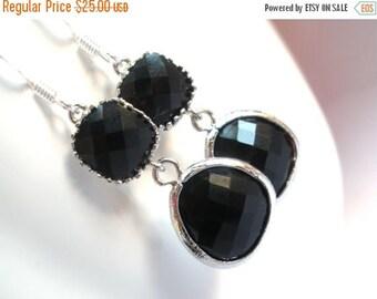 SALE Black Earrings, Glass Earrings, Silver Dangle Earrings, Onyx, Jet, Wedding Jewelry, Bridesmaid Earrings, Bridal Earrings, Bridesmaid Gi