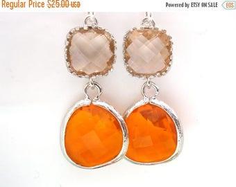 SALE Glass Earrings, Peach Earrings, Orange Earrings, Tangerine, Silver Earrings, Bridesmaid Earrings, Bridesmaid Gifts, Spring Jewelry